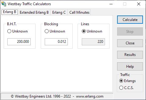 Westbay Traffic Calculators - Erlang B